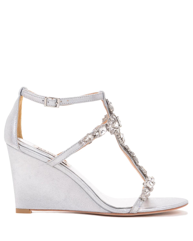 badgley mischka ii metallic wedge evening shoe in