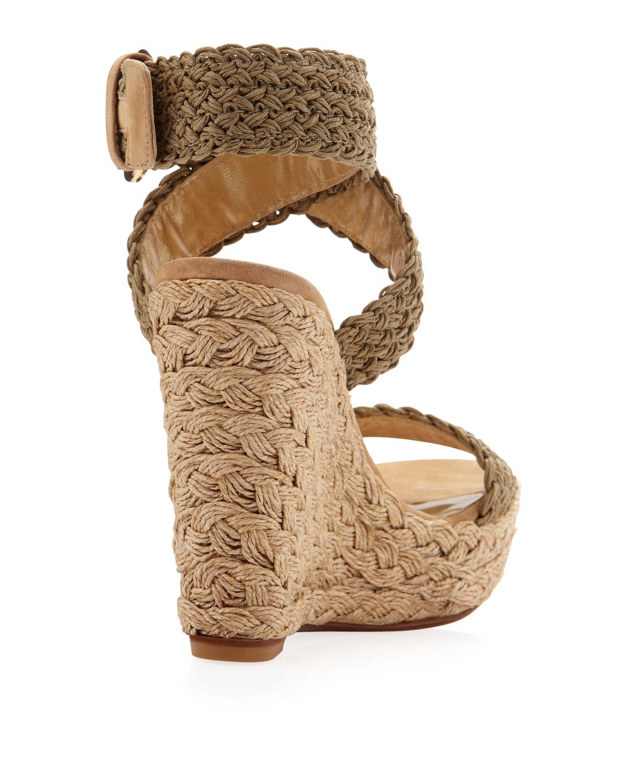 4358f8eda0e Lyst - Stuart Weitzman Swamp Crochet Jute  alex  Wedge Sandals in Gray