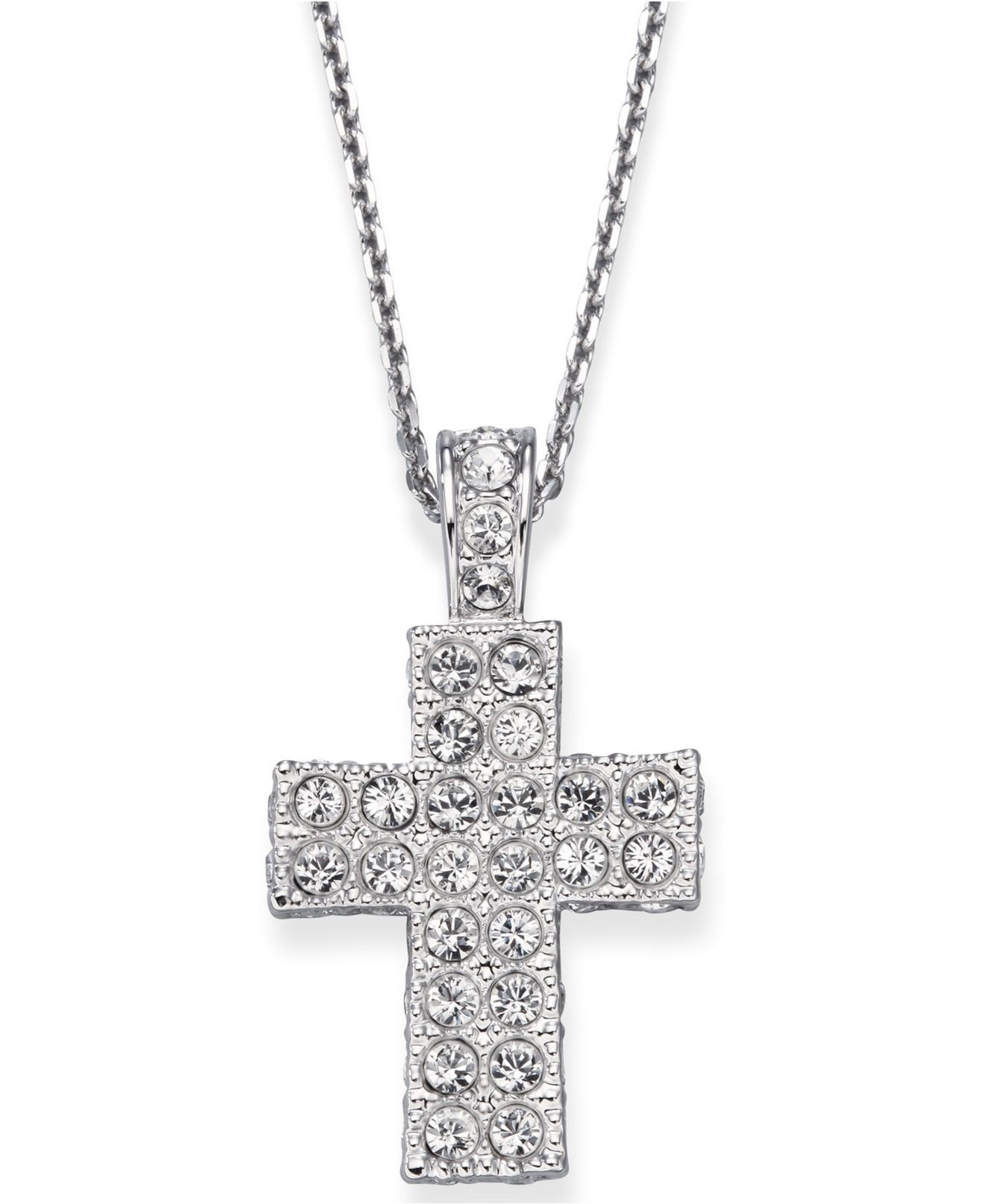 Swarovski Crystal Pave Cross In Natural Lyst