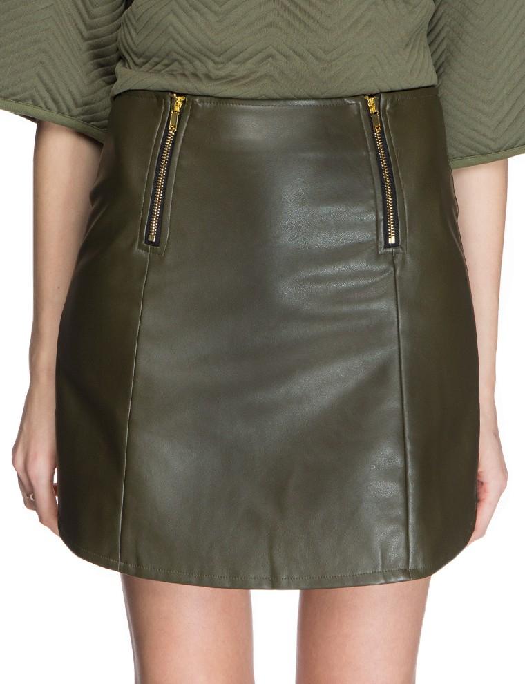 Olive Green Leather Skirt | Jill Dress