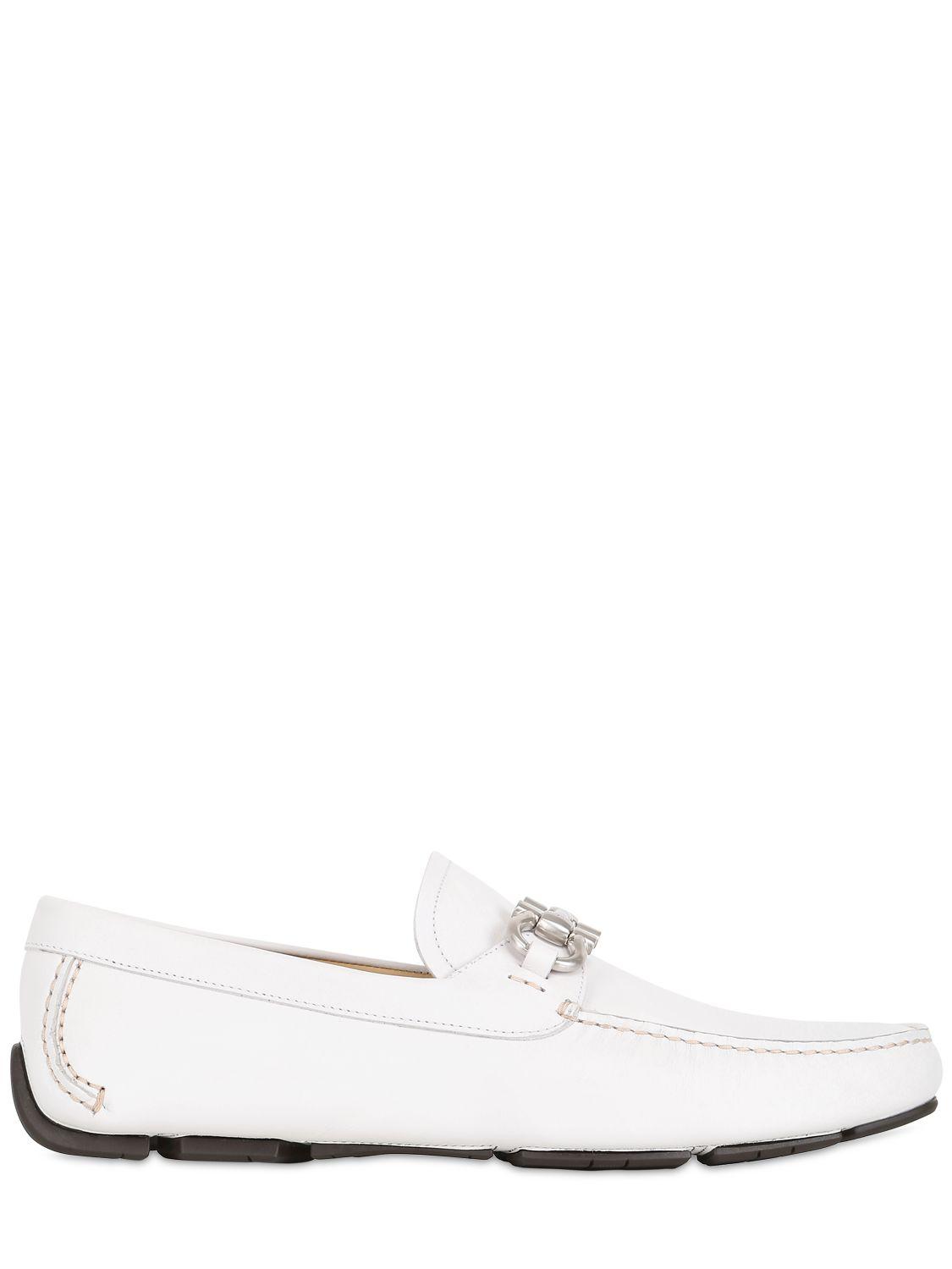 72e8b733050 Lyst - Ferragamo Parigi Leather Driving Loafers in White for Men