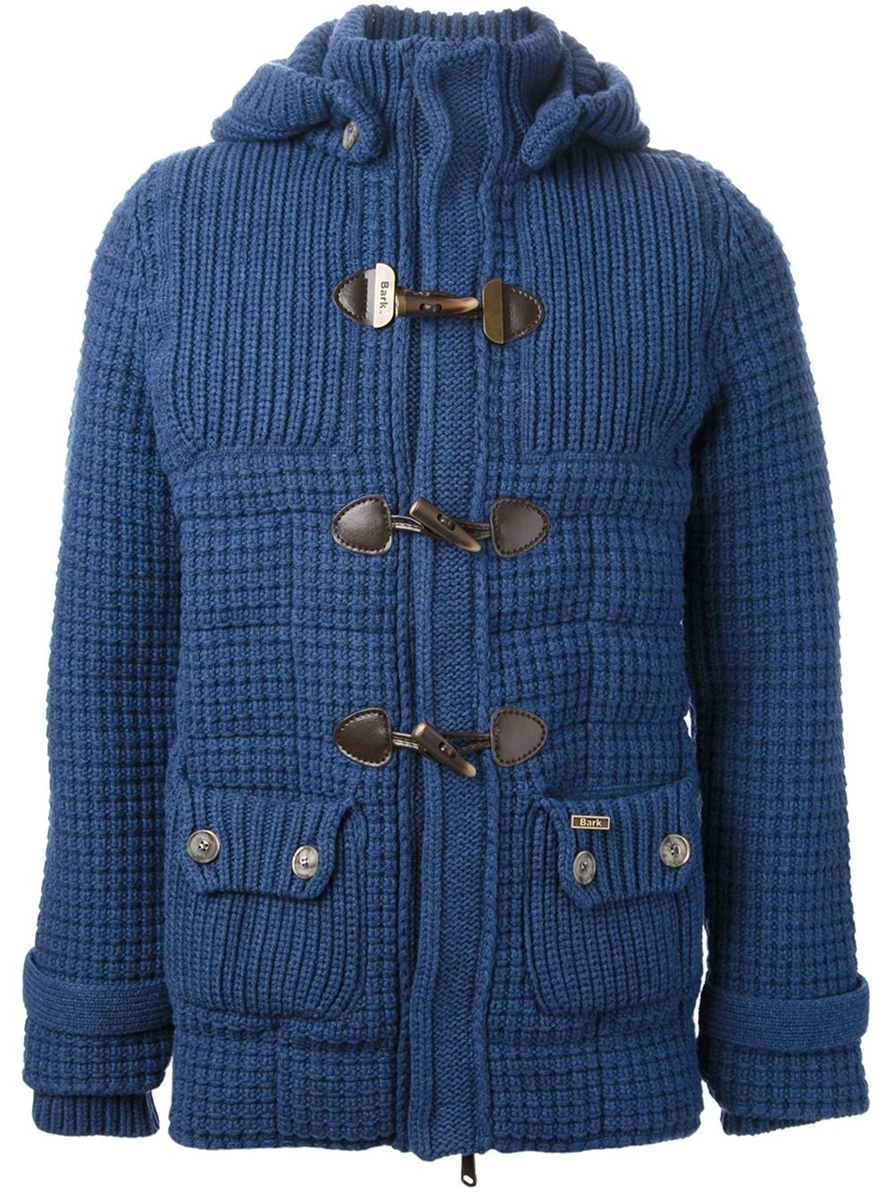 Bark Knitted Duffle Coat in Blue for Men | Lyst