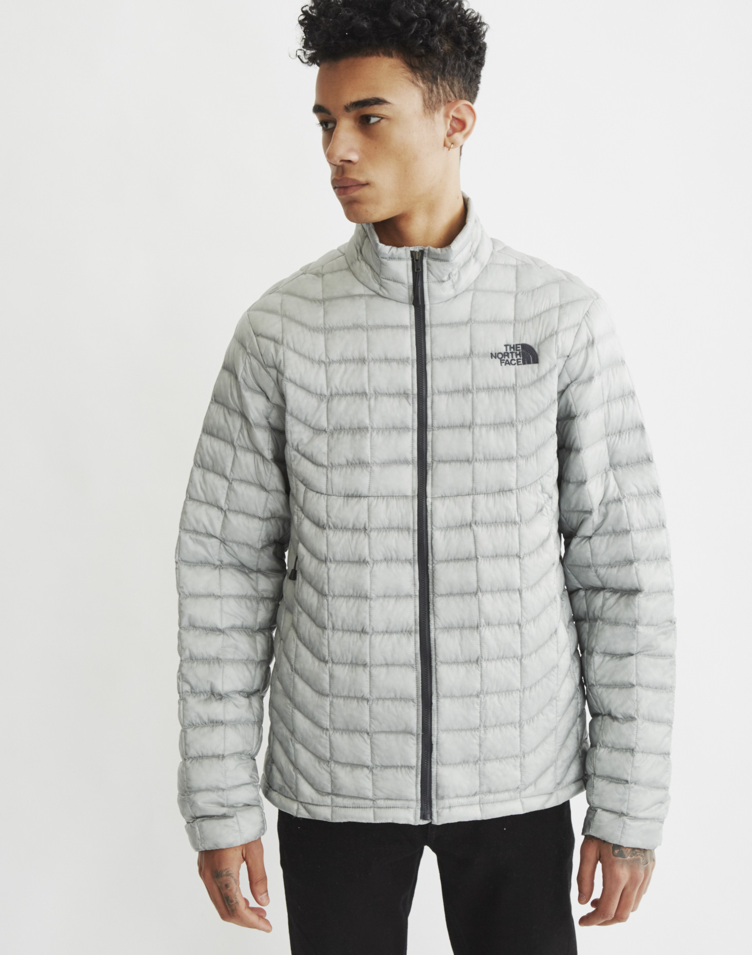 the north face thermoball full zip jacket in gray for men. Black Bedroom Furniture Sets. Home Design Ideas