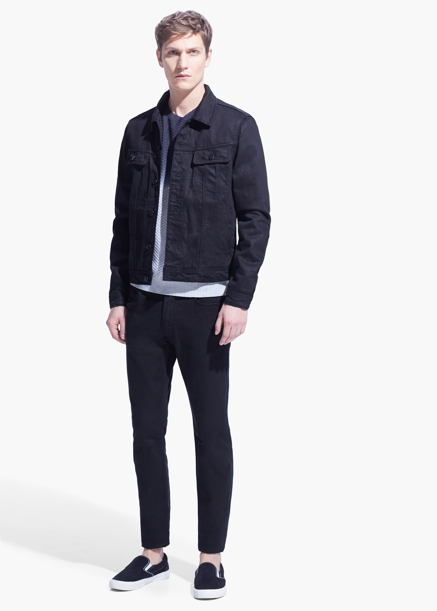 Mango Black Denim Jacket in Gray for Men | Lyst