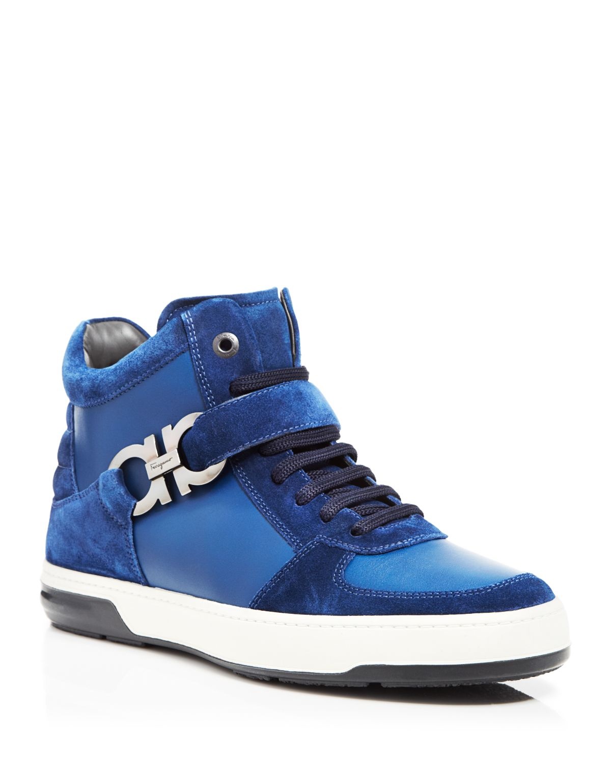 Ferragamo Nayon High Top Sneakers in Blue for Men