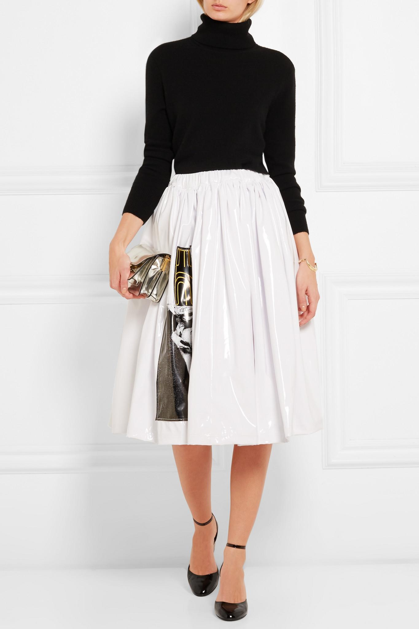 Miu Miu - Appliquéd Vinyl Skirt - White in White
