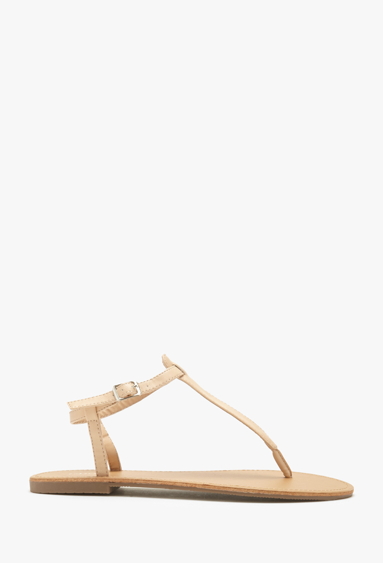 d0106a7b3 Lyst - Forever 21 Faux Leather T-strap Sandals in Natural