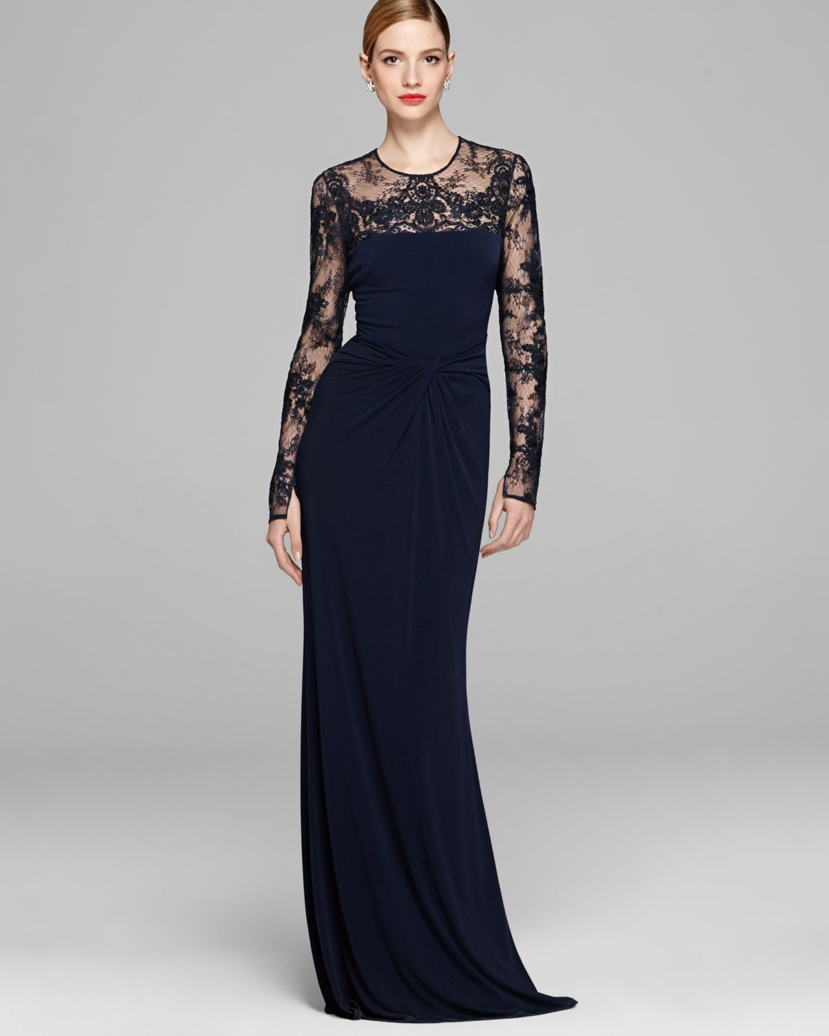 Lyst - David Meister Gown Long Sleeve Illusion Jersey with Drape ...