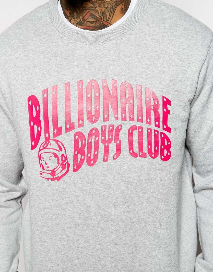 Billionaire boys club - ice cream Logo Crew Sweater in Gray for ...