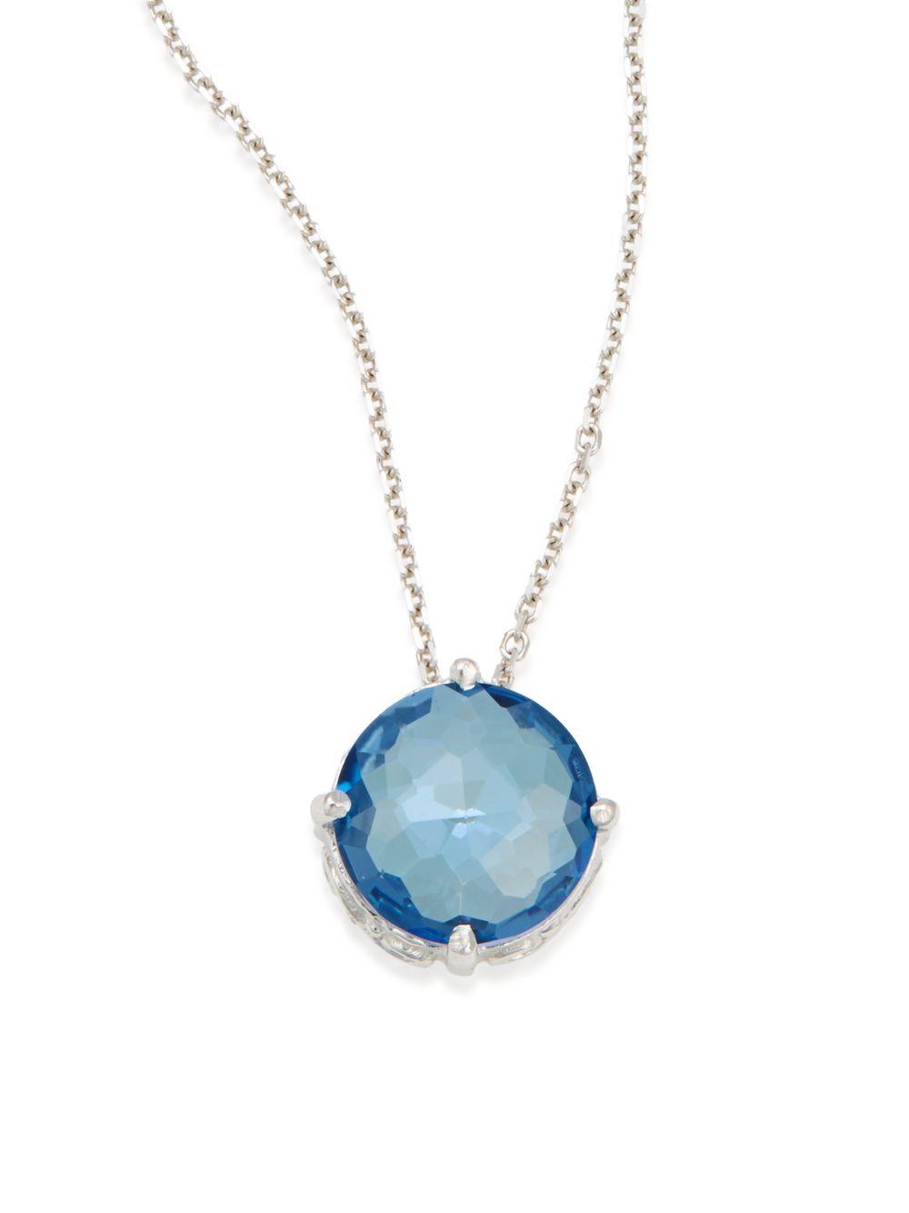 Suzanne Kalan 14k Blue Topaz & Diamond Pendant Necklace QoeX7zY