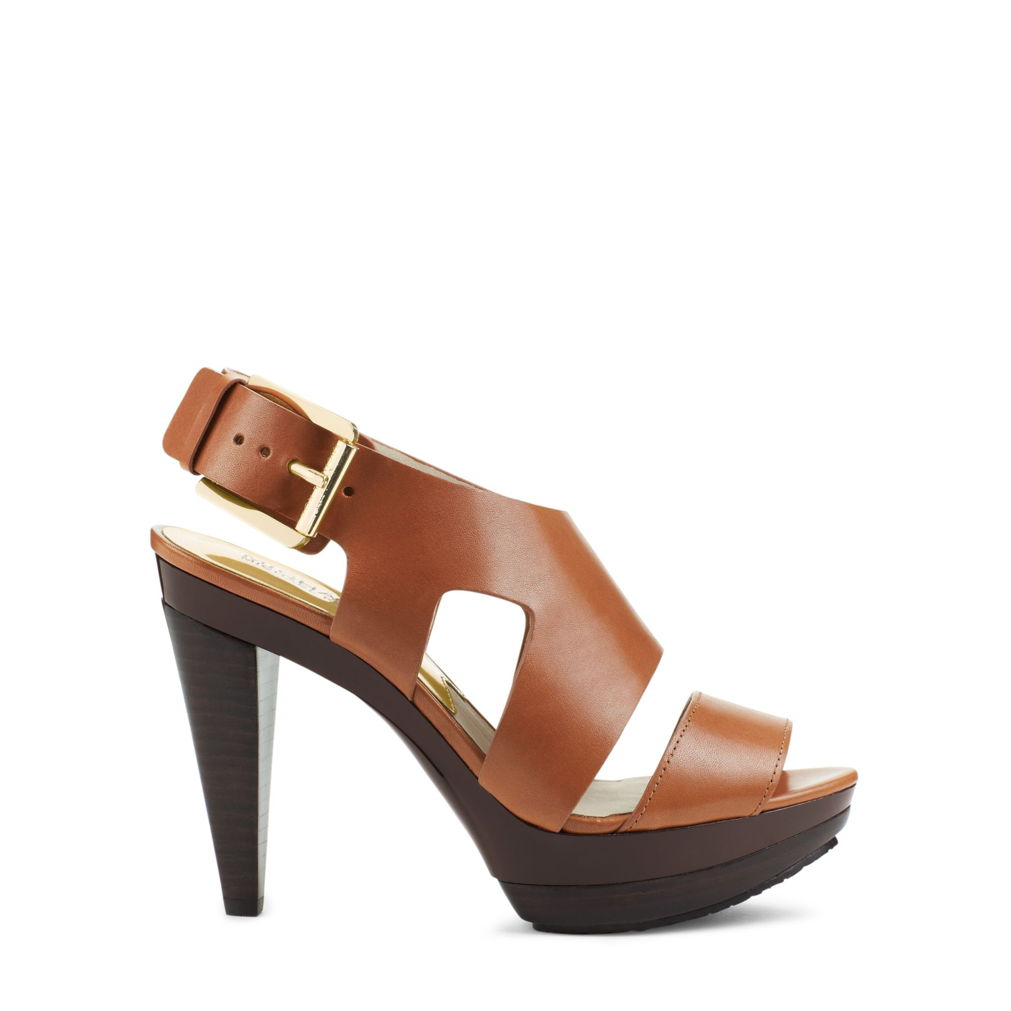 e421339dd258 Lyst - Michael Kors Carla Leather Platform Sandal in Brown