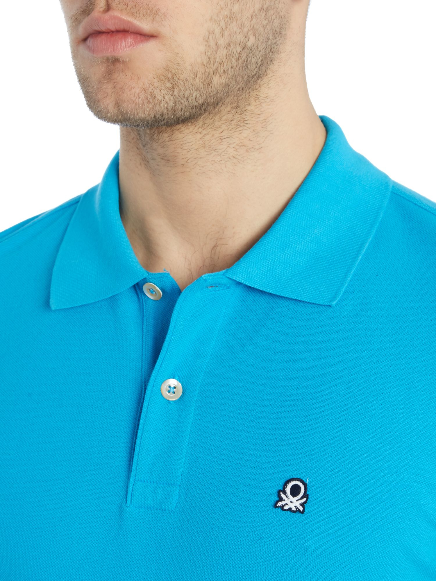benetton logo polo regular fit polo shirt in blue for men