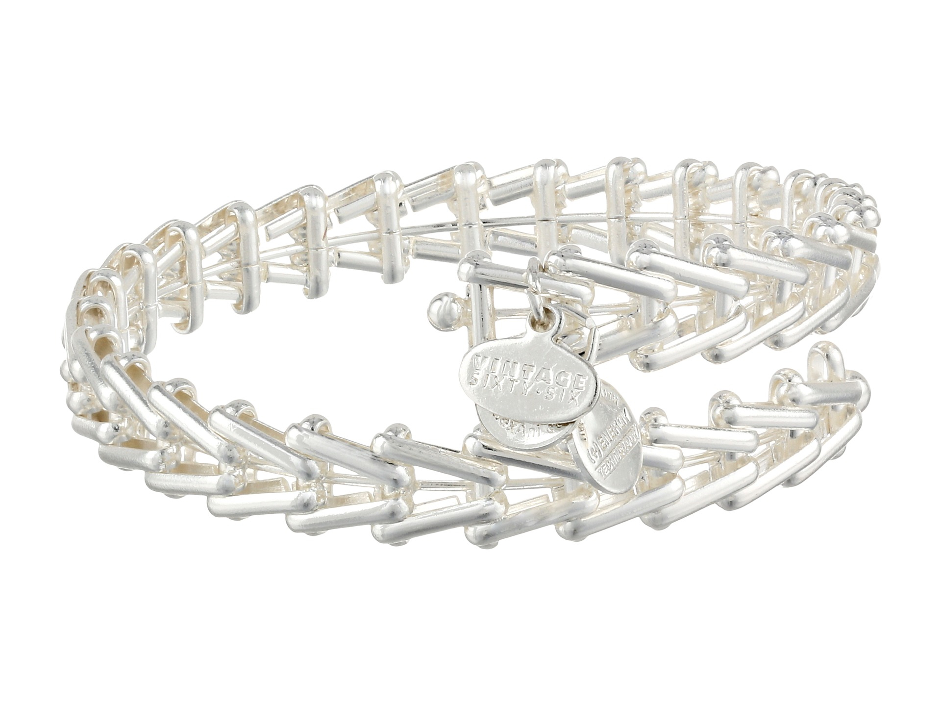 alex and ani 66 wrap bracelet in silver shiny