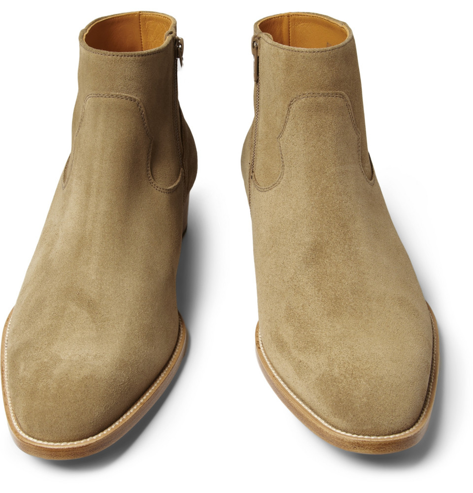 Lyst Saint Laurent Suede Chelsea Boots In Natural For Men