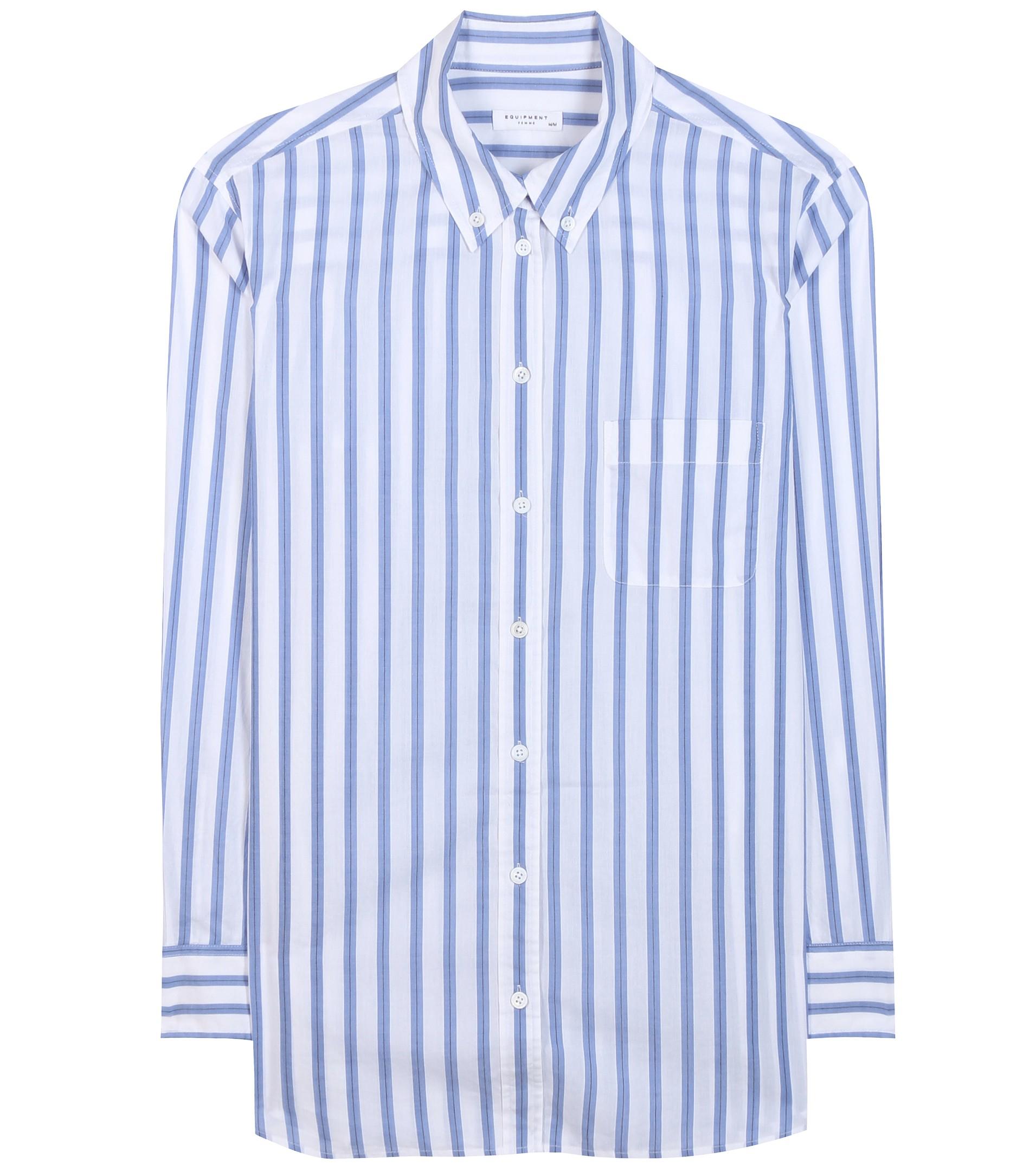 72f8ffad53e64 Equipment Margaux Striped Cotton Shirt in Blue - Lyst