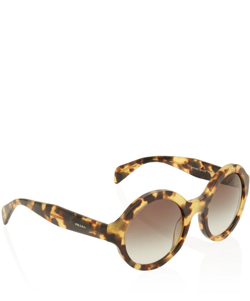 6fdca0fce36 Lyst - Prada Tortoiseshell Oversized Round Frame Acetate Sunglasses ...