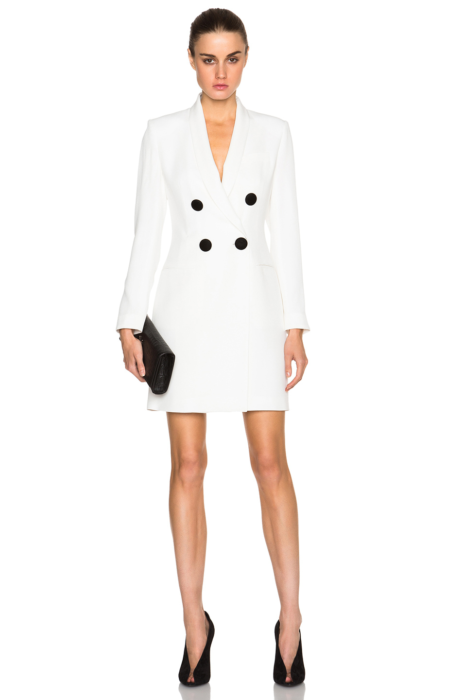 Adam lippes Double Breasted Blazer Mini Dress in White | Lyst