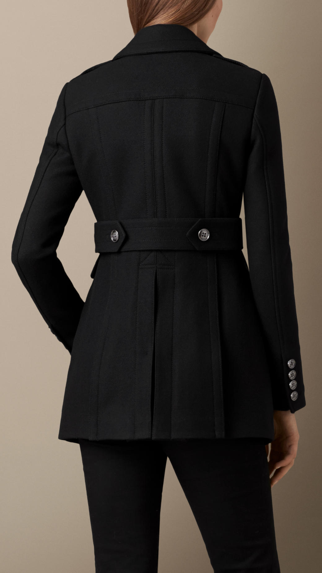 Burberry Fitted Wool Blend Twill Pea Coat in Black | Lyst