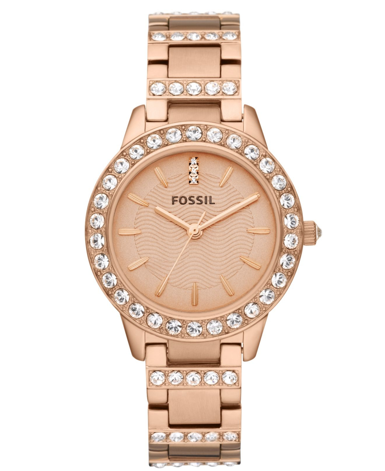 fossil women 39 s jesse rose gold tone stainless steel. Black Bedroom Furniture Sets. Home Design Ideas