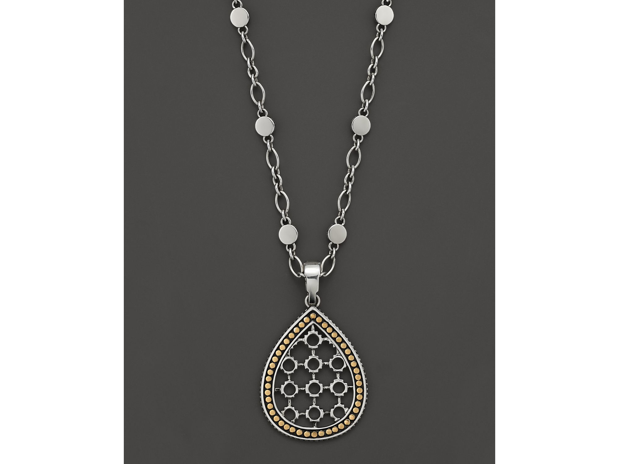 c7709960a26af Lyst - John Hardy Dot 18K Gold And Silver Drop Pendant Necklace