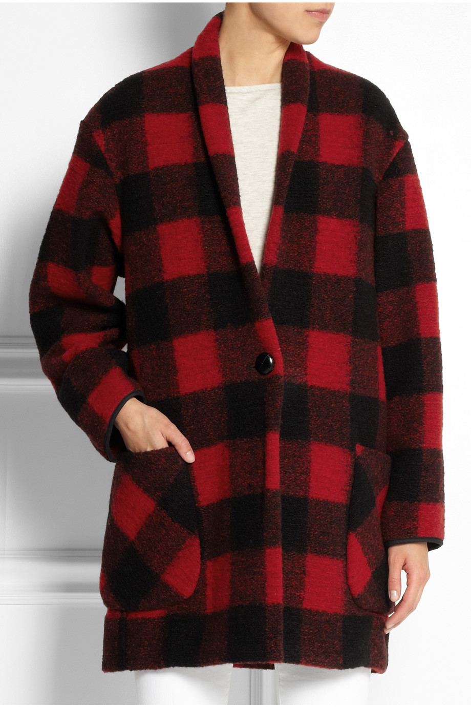 toile isabel marant gabrie plaid woolblend coat in red lyst. Black Bedroom Furniture Sets. Home Design Ideas