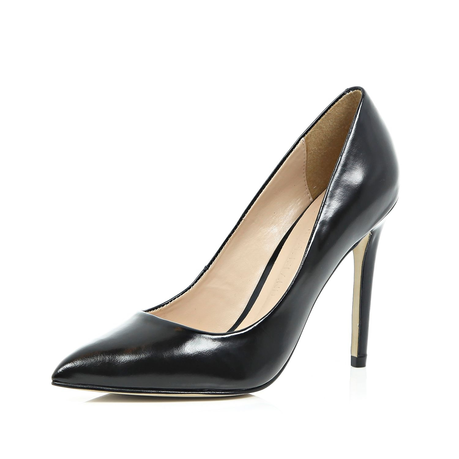 river island black leather court shoes lyst