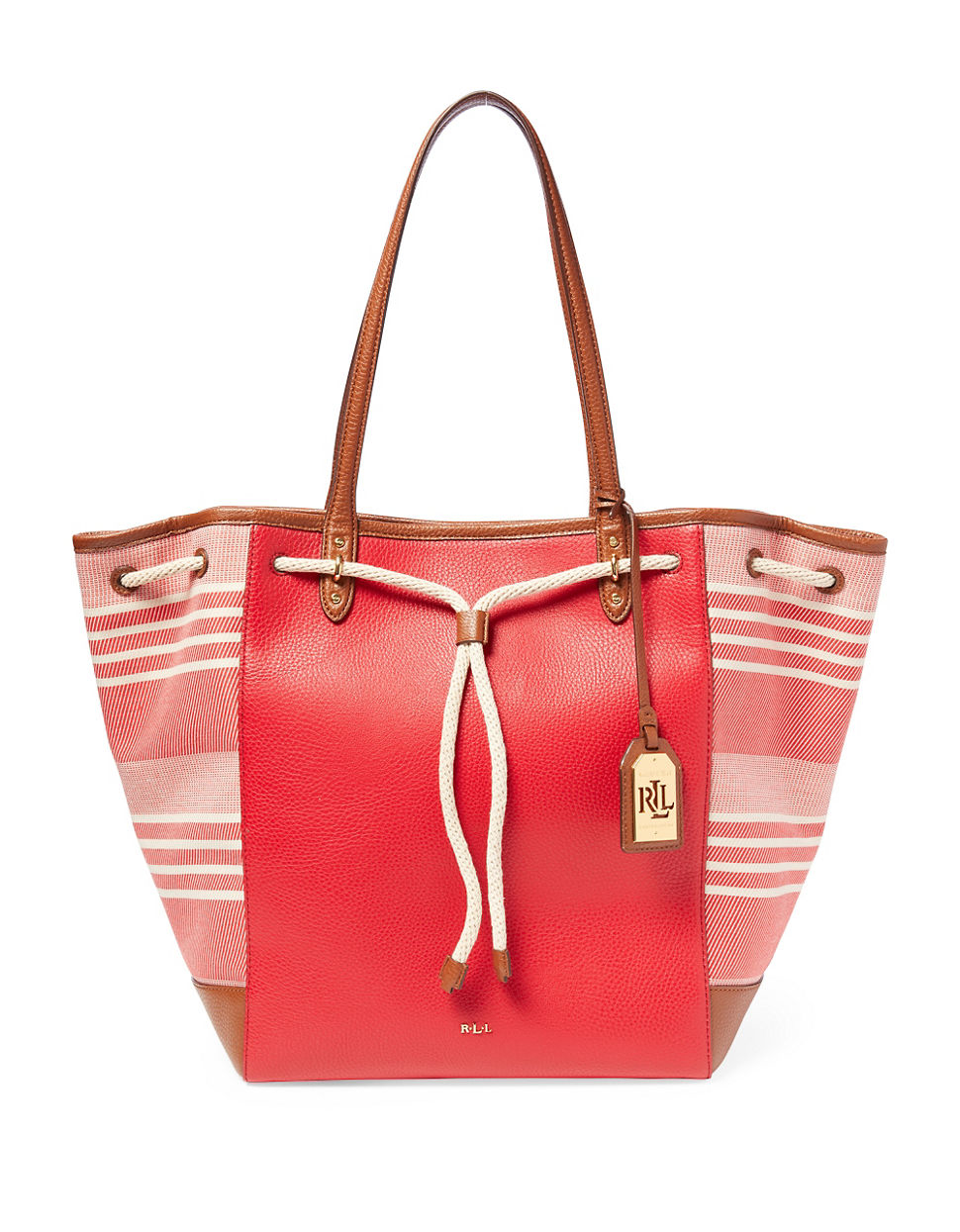 Ralph Lauren Tote Laukku : Lauren by ralph oxford striped jacquard tote in red