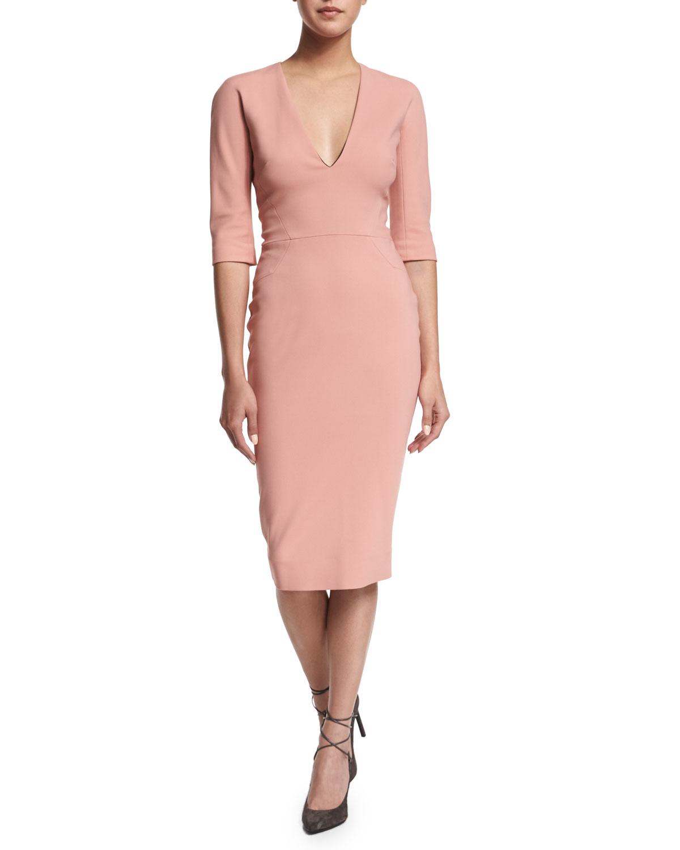 Lyst Victoria Beckham 3 4 Sleeve V Neck Sheath Dress In Pink