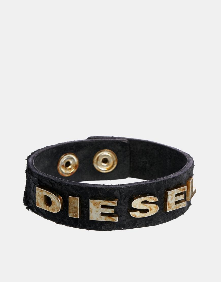 Diesel logo leather bracelet - Black ZX4lNmasvp