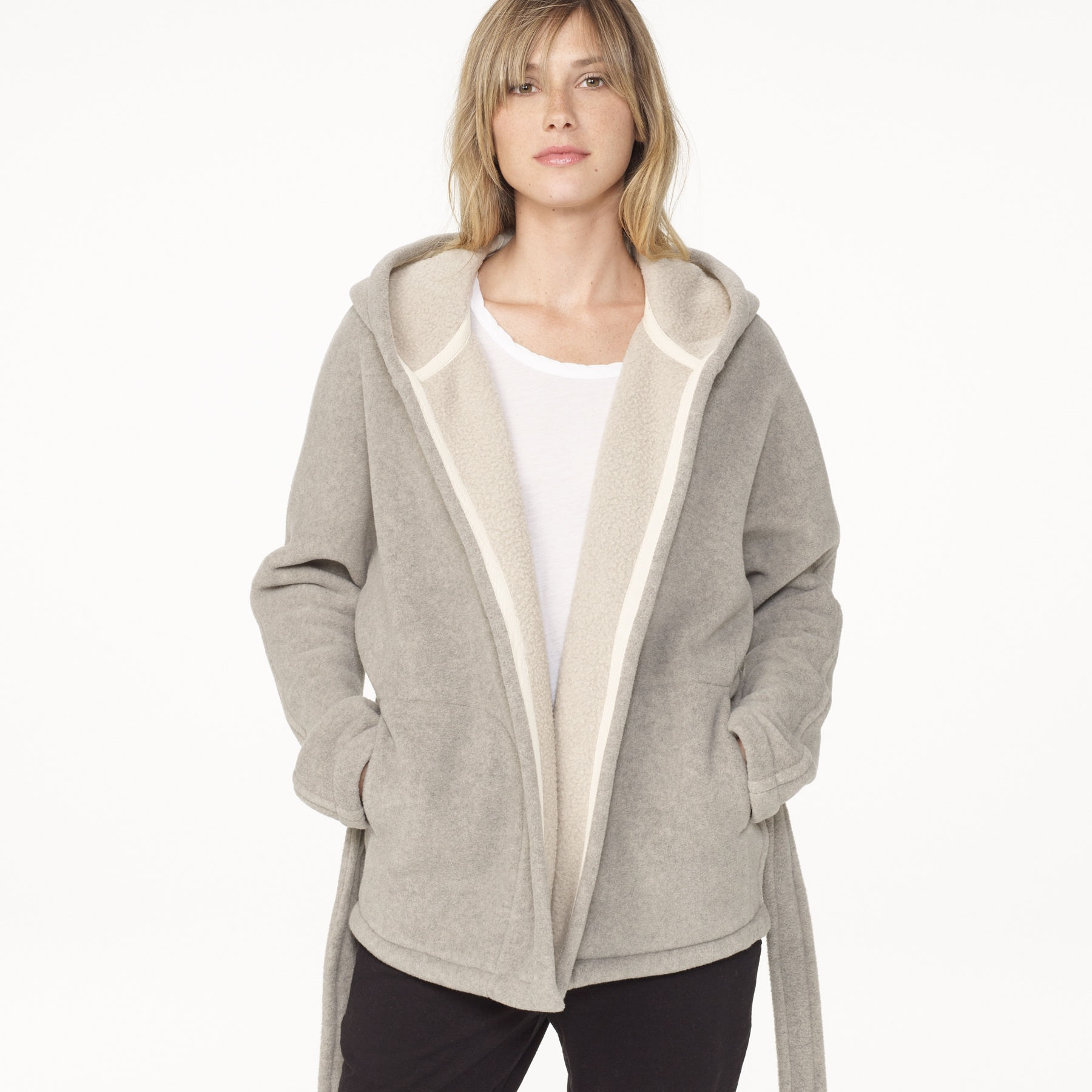 James perse Yosemite Oversized Polar Fleece Jacket in Natural | Lyst