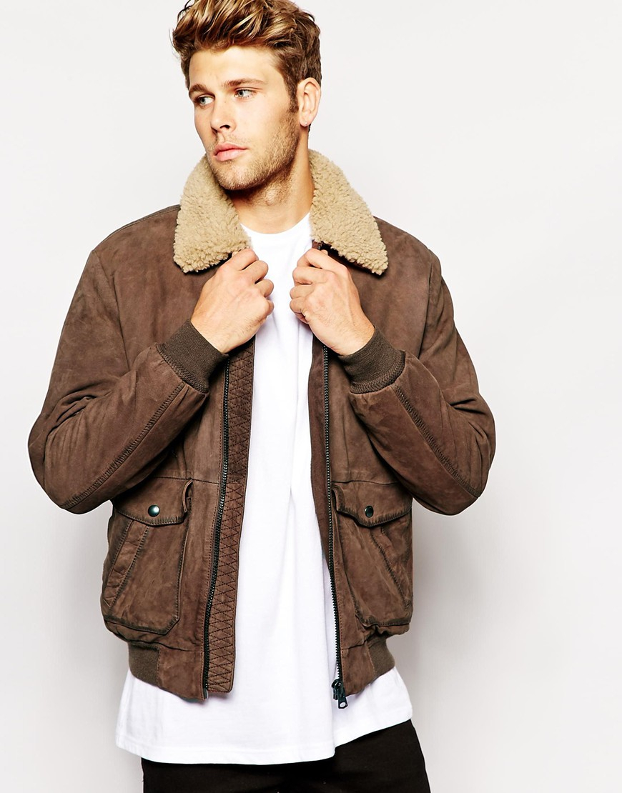 Gallery - Wrangler Leather Bomber Jacket Sherpa Collar In Brown For Men Lyst