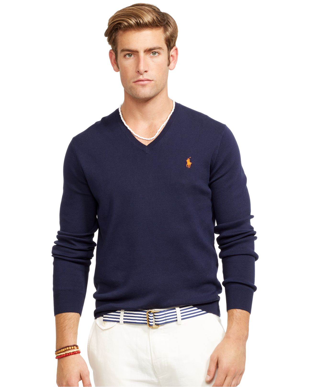 Polo ralph lauren V-neck Sweater in Blue for Men | Lyst