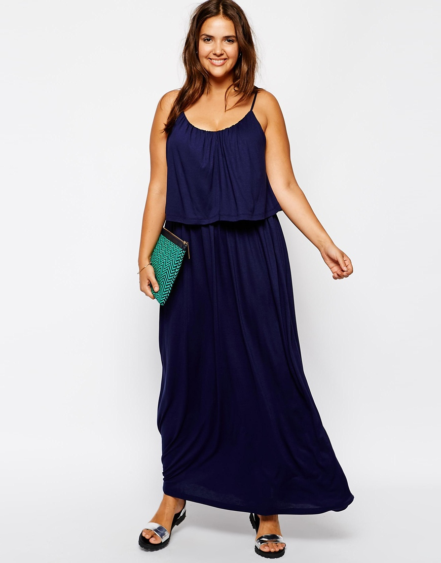 Asos Curve Exclusive Double Layer Cami Maxi Dress In Blue