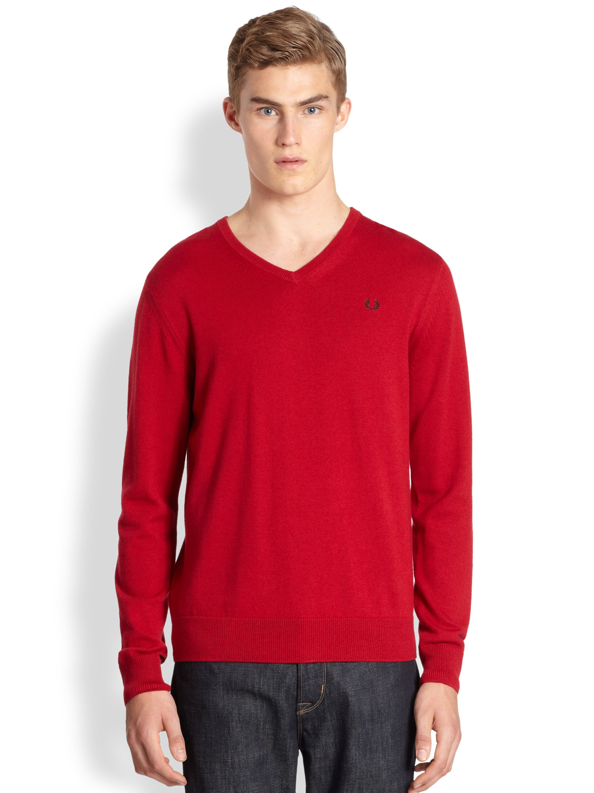 lyst fred perry classic tipped vneck sweater in blue for men. Black Bedroom Furniture Sets. Home Design Ideas