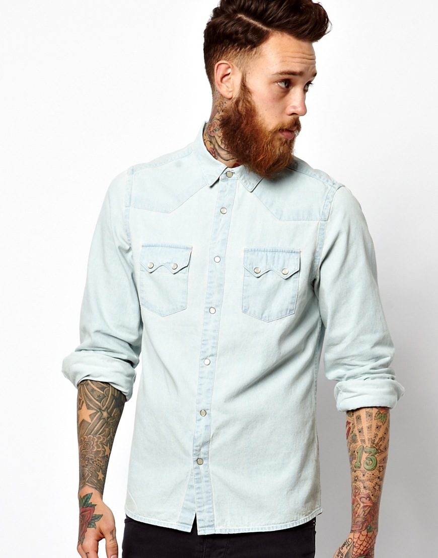 Asos Denim Shirt In Long Sleeve With Western Styling in White for ...
