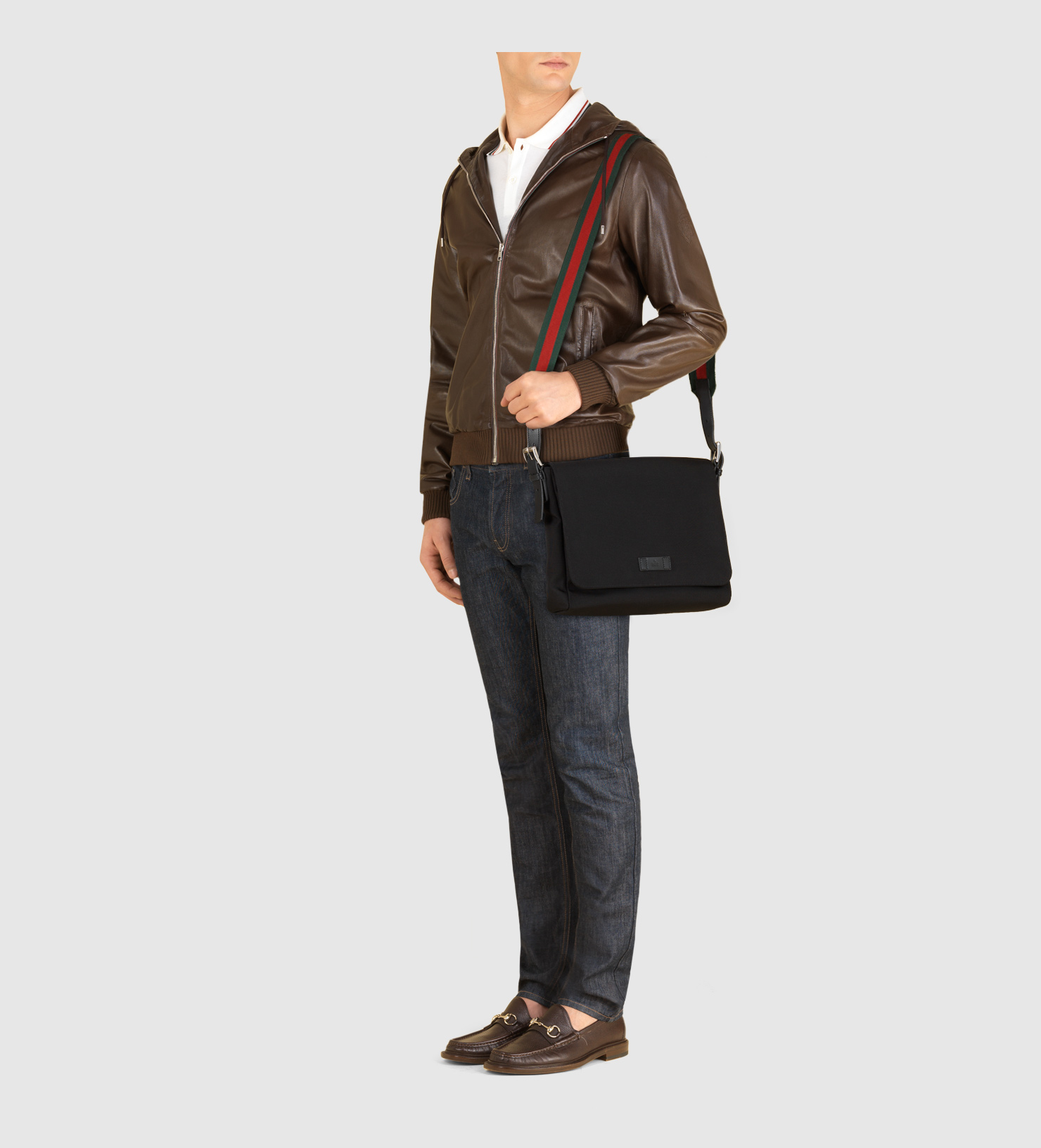 aa0a27ebbeb Lyst - Gucci Black Techno Canvas Messenger Bag in Black for Men