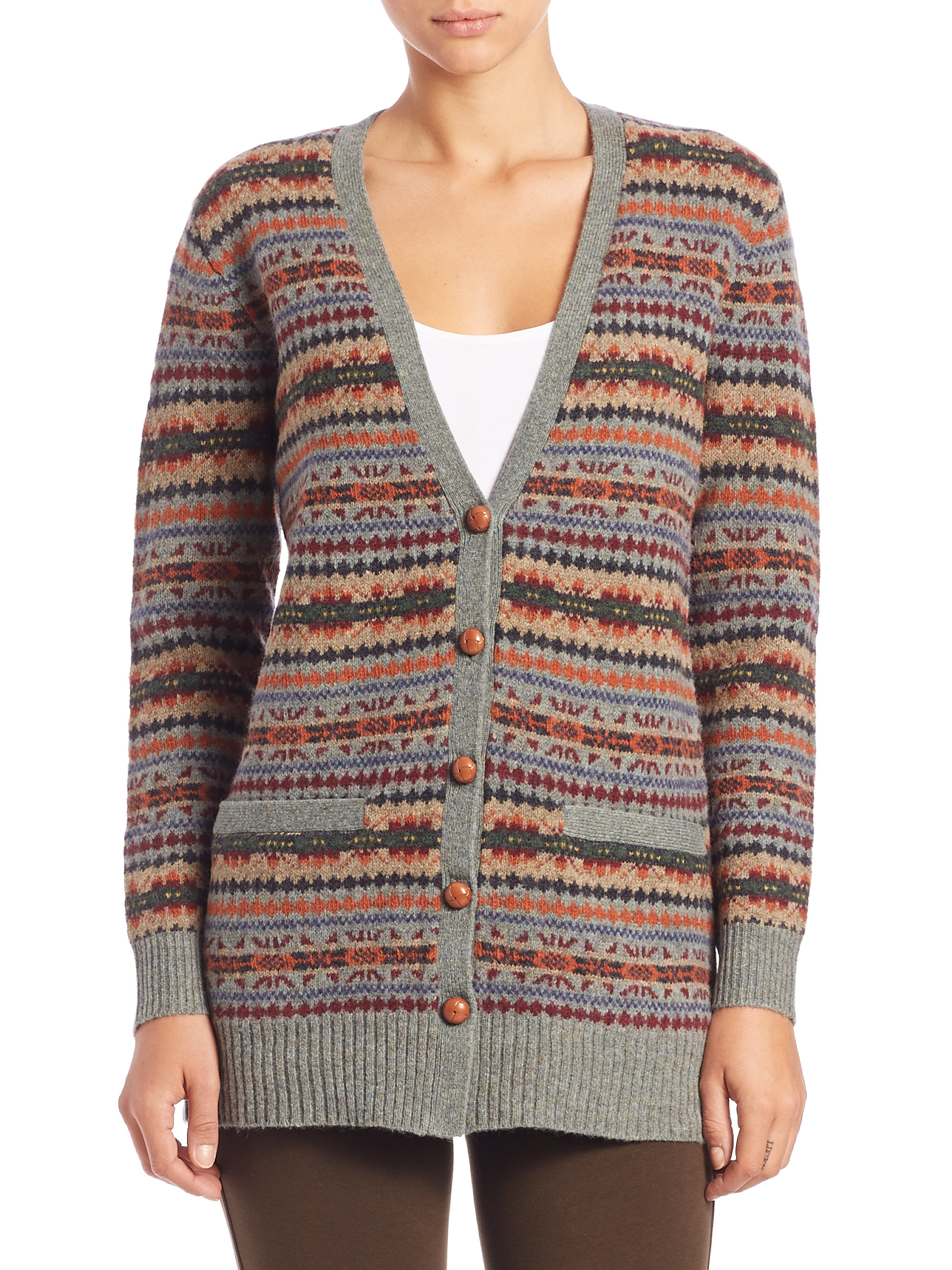 Polo ralph lauren Fair Isle Cardigan in Brown | Lyst