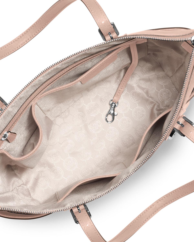 Lyst - MICHAEL Michael Kors Jet Set Top-zip Saffiano Tote Bag in Pink 28e5372611