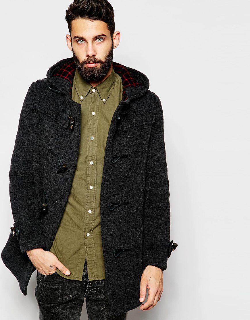 Gloverall Duffle Coat With Check Hood in Gray for Men | Lyst