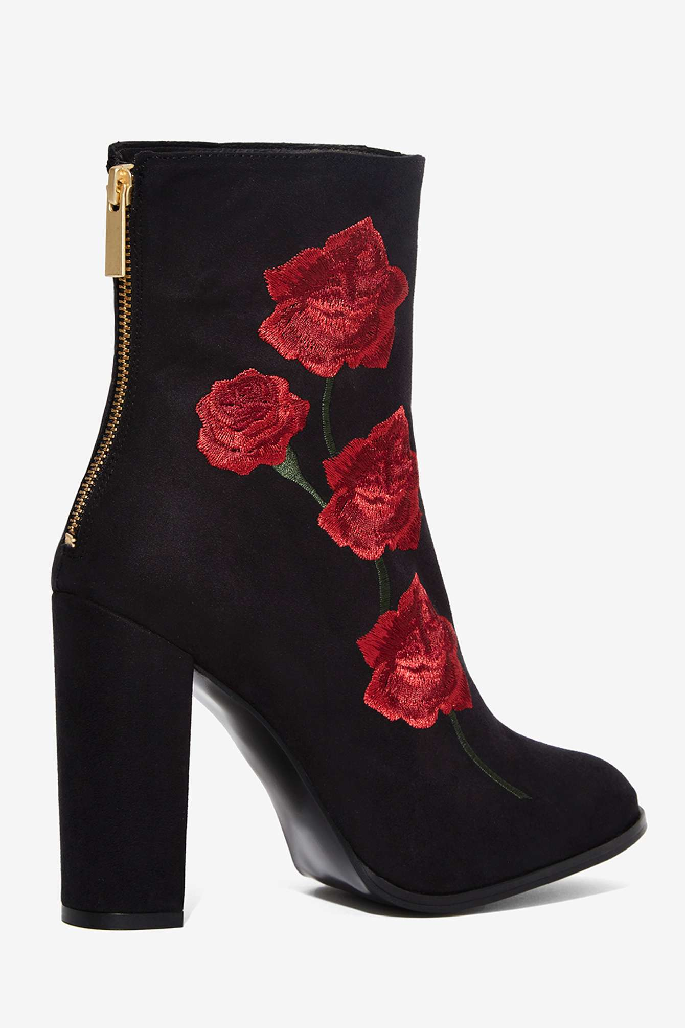 intentionally rosa embroidered suede boot in black