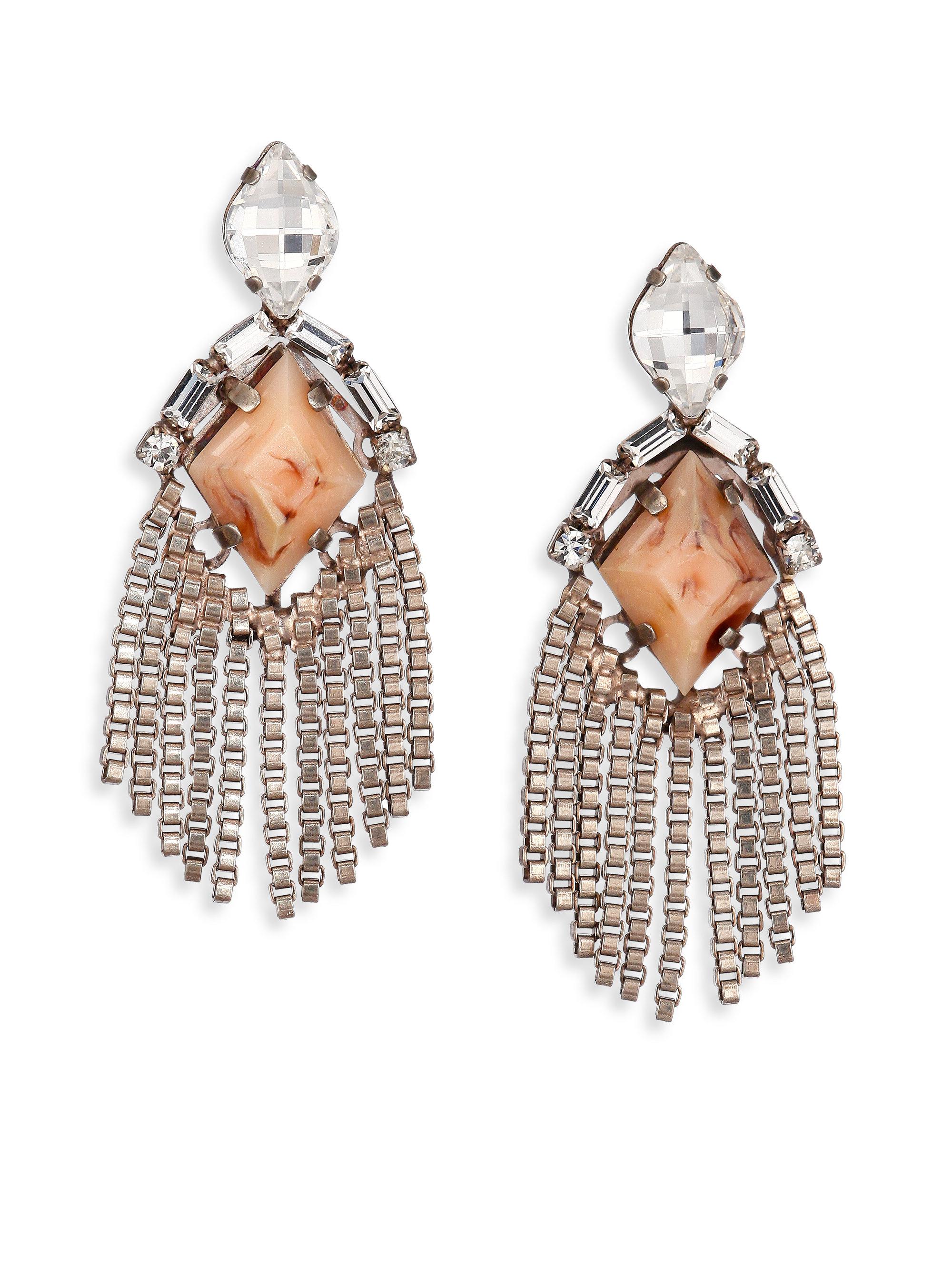 ff8462e69 Lyst - DANNIJO Allegra Crystal Fringe Drop Earrings in Pink