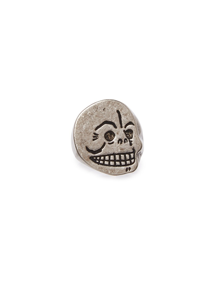 cheap monday skull ring in metallic for lyst