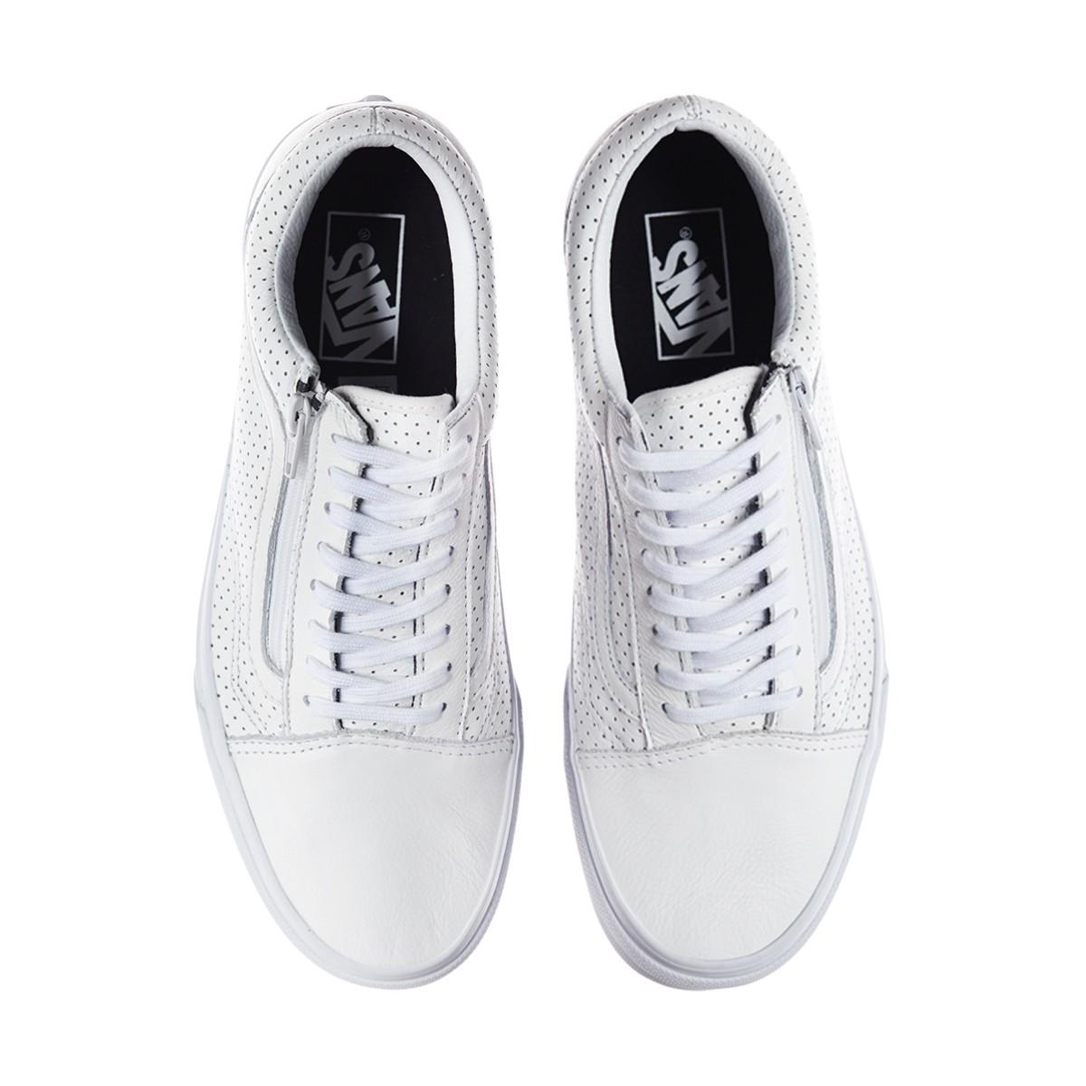 4496889eead1 Lyst - Vans Old Skool Zip Perforated Leather Sneakers in White for Men