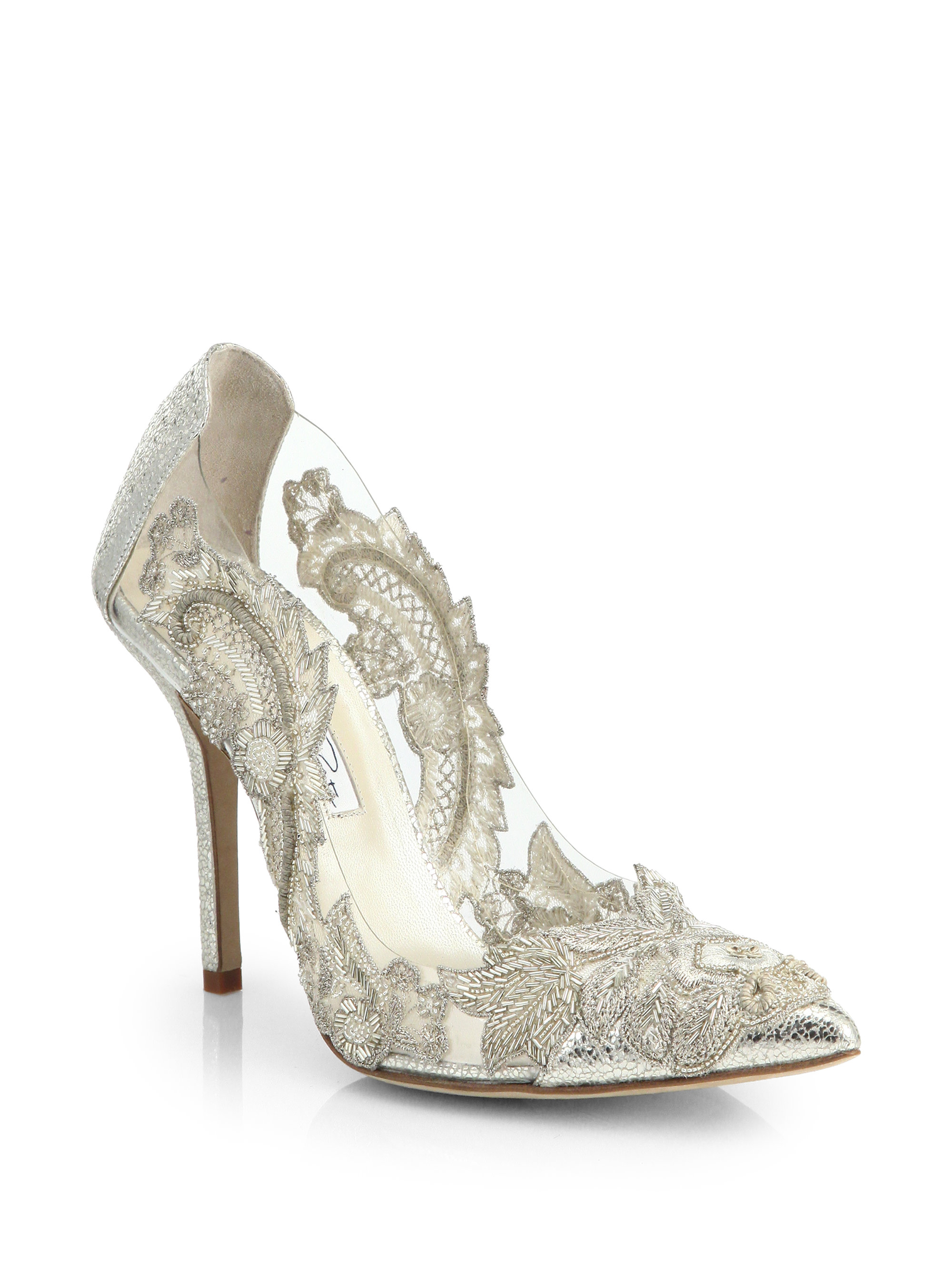 6564d0a7f33c Lyst - Oscar de la Renta Alyssa Beaded-appliqué   Metallic Leather ...