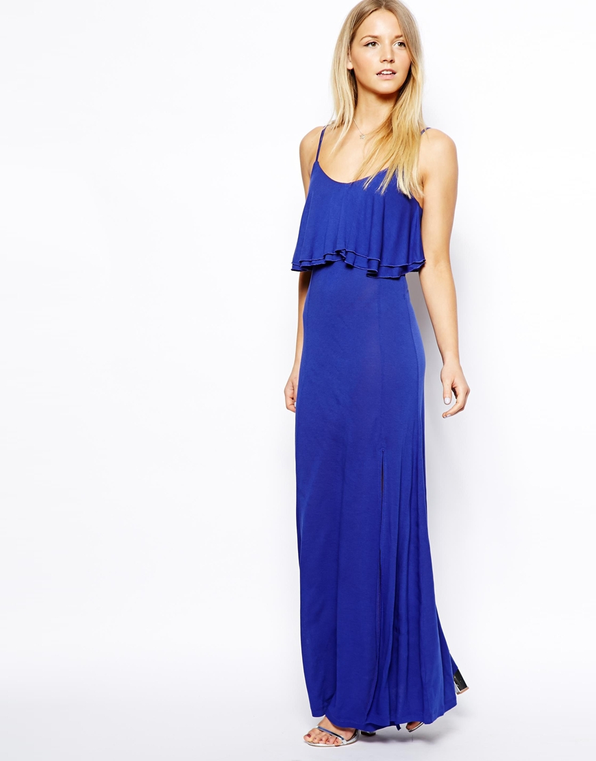 Lyst Asos Maxi Dress With Crop Top In Purple