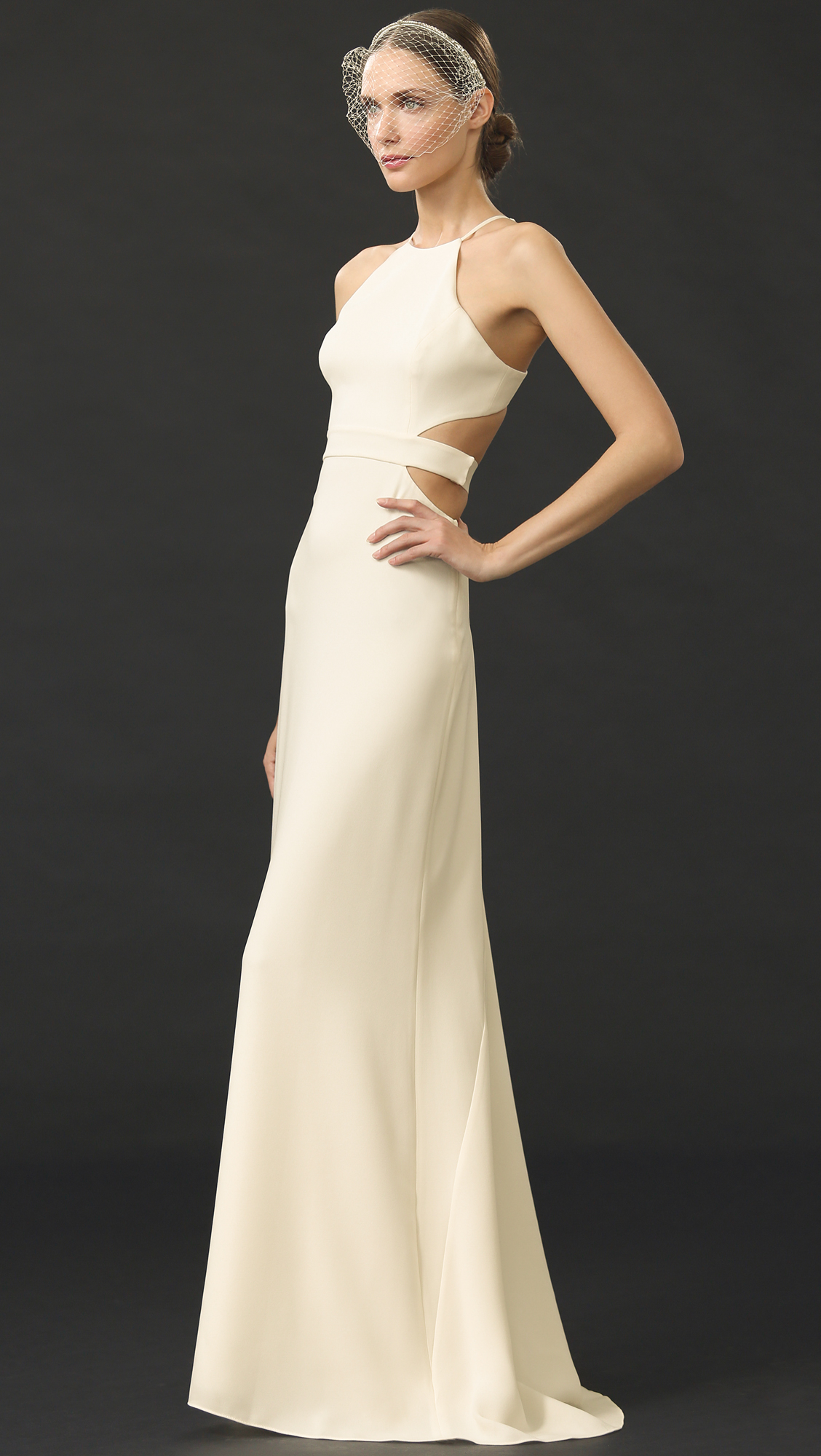 Lyst - Halston Back Cutout Gown in Natural