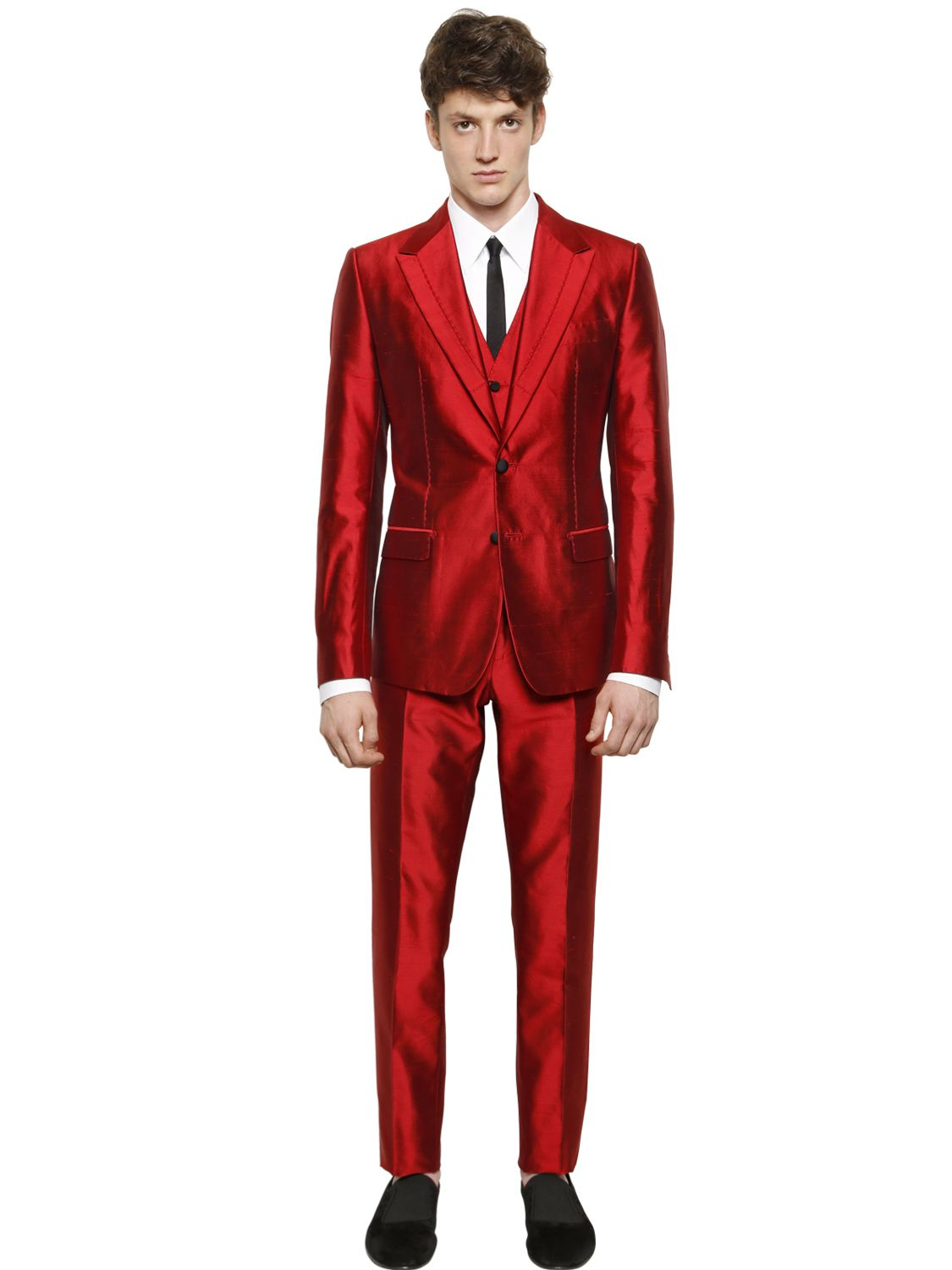 Dolce & gabbana Silk Shantung 3 Piece Suit in Red for Men | Lyst