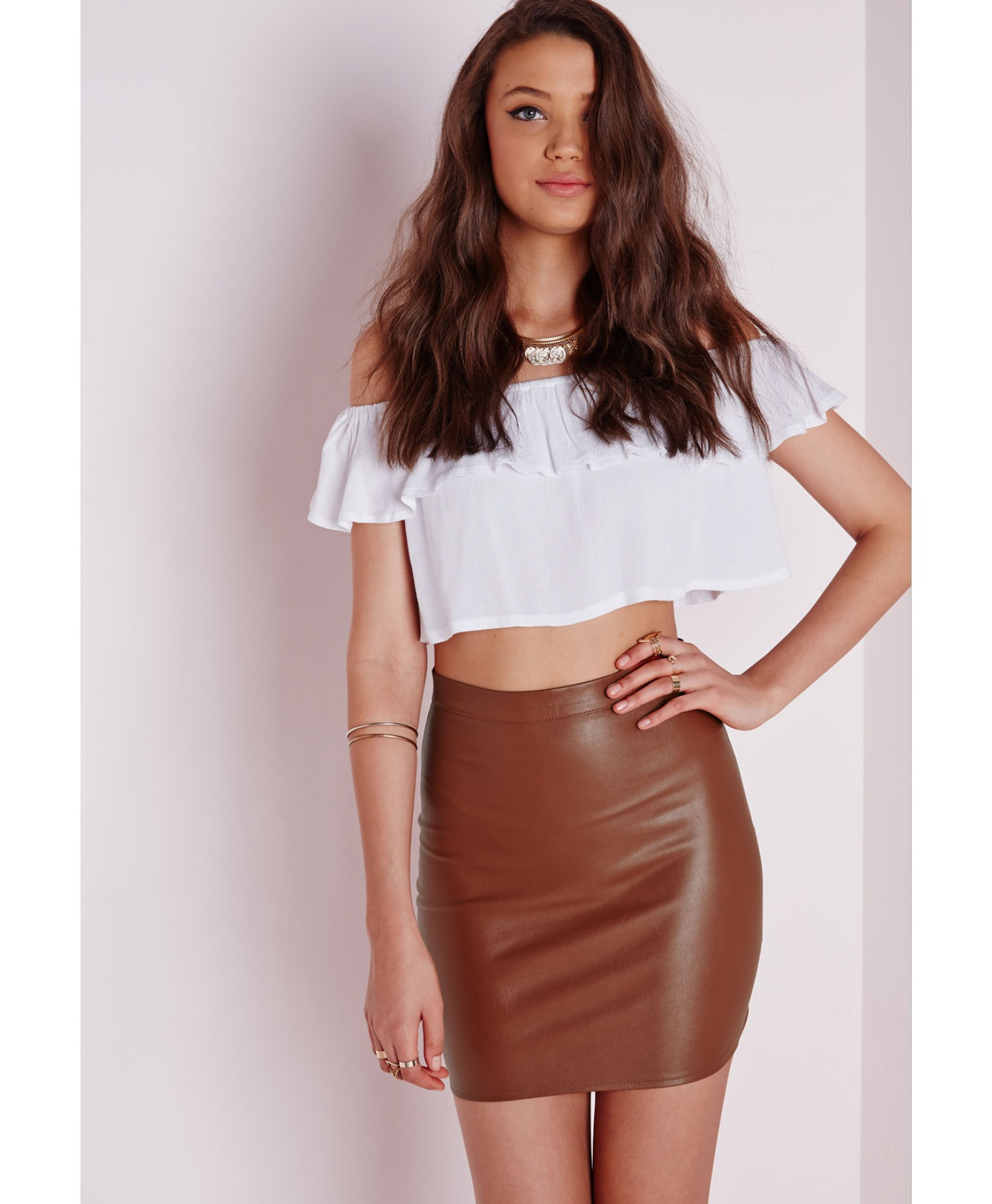 a97c1ff4c Missguided Faux Leather Mini Skirt Tan in Brown - Lyst