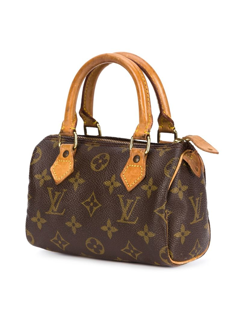 Lyst Louis Vuitton Mini Speedy Tote In Brown