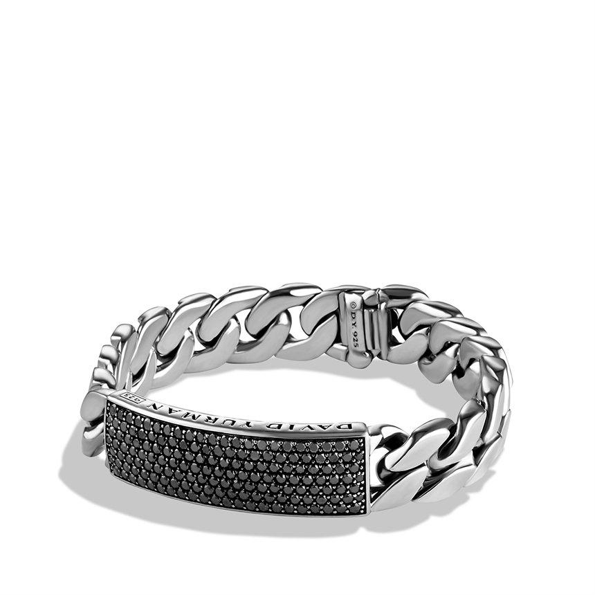 David Yurman Curb Chain Id Bracelet With Black Diamonds In